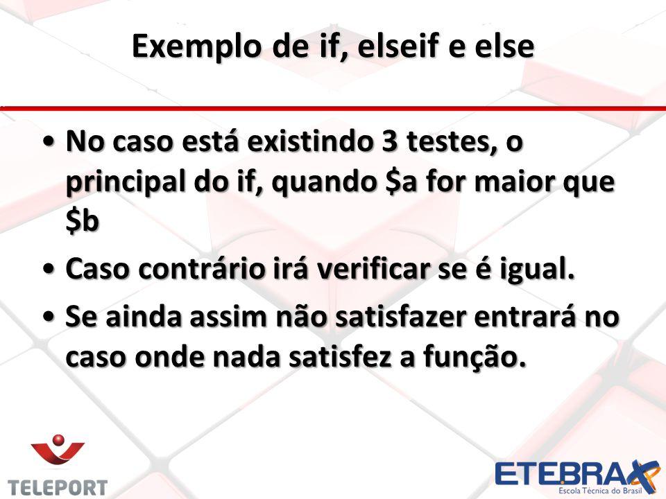No caso está existindo 3 testes, o principal do if, quando $a for maior que $b Caso contrário irá verificar se é igual. Se ainda assim não satisfazer