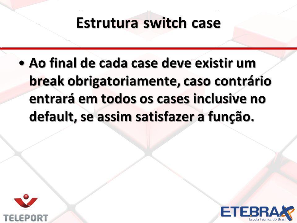 Ao final de cada case deve existir um break obrigatoriamente, caso contrário entrará em todos os cases inclusive no default, se assim satisfazer a fun