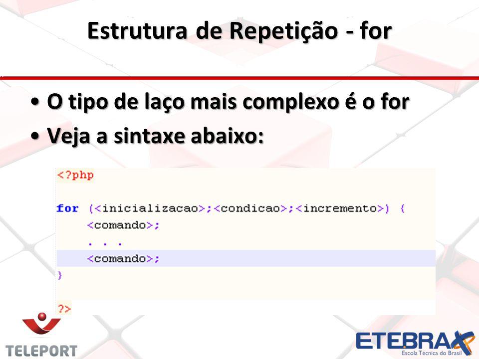 Estrutura de Repetição - for O tipo de laço mais complexo é o forO tipo de laço mais complexo é o for Veja a sintaxe abaixo:Veja a sintaxe abaixo: