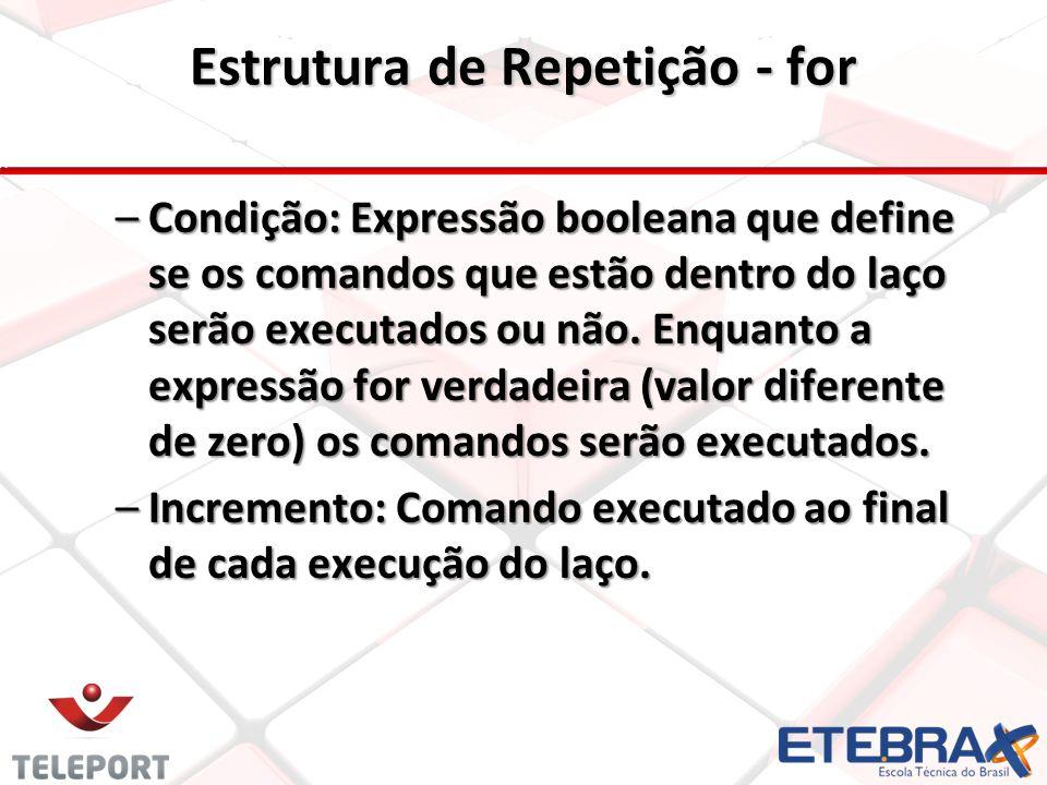 Estrutura de Repetição - for –Condição: Expressão booleana que define se os comandos que estão dentro do laço serão executados ou não. Enquanto a expr