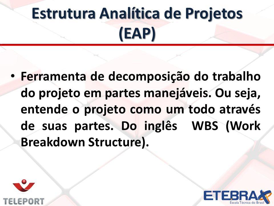 Estrutura Analítica de Projetos (EAP) Ferramenta de decomposição do trabalho do projeto em partes manejáveis. Ou seja, entende o projeto como um todo