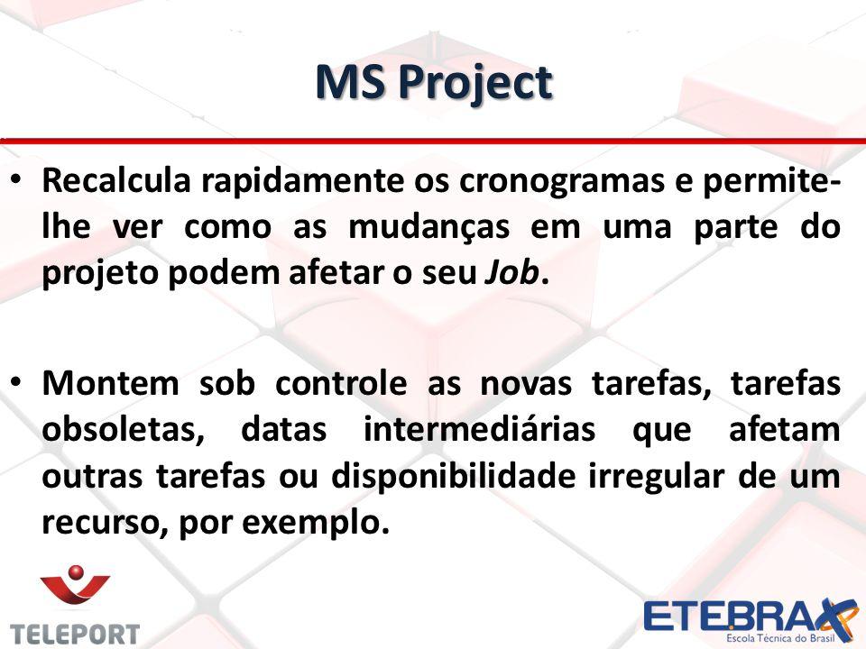 MS Project Recalcula rapidamente os cronogramas e permite- lhe ver como as mudanças em uma parte do projeto podem afetar o seu Job. Montem sob control