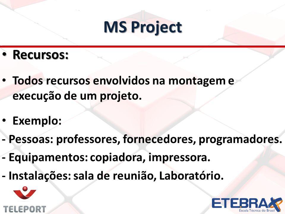 MS Project Recursos: Recursos: Todos recursos envolvidos na montagem e execução de um projeto.