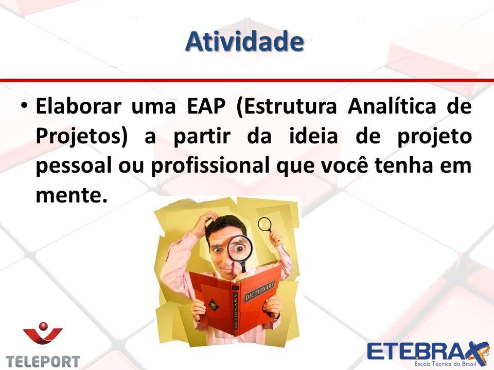 Atividade 28 Elaborar uma EAP (Estrutura Analítica de Projetos) a partir da ideia de projeto pessoal ou profissional que você tenha em mente.