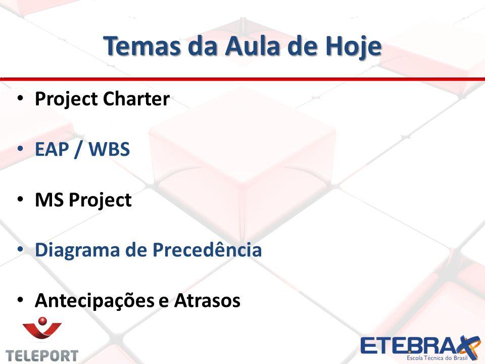 Temas da Aula de Hoje Project Charter EAP / WBS MS Project Diagrama de Precedência Antecipações e Atrasos
