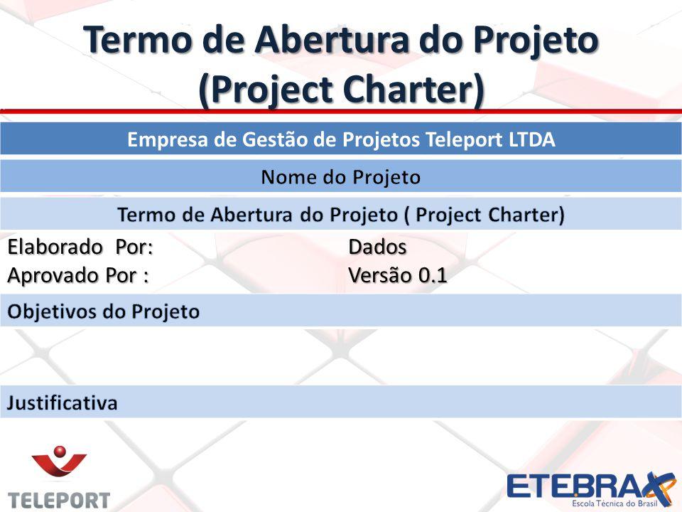 Termo de Abertura do Projeto (Project Charter) Gerente do Projeto Descrição Preliminar do projeto Cronograma do projeto (Resumo)