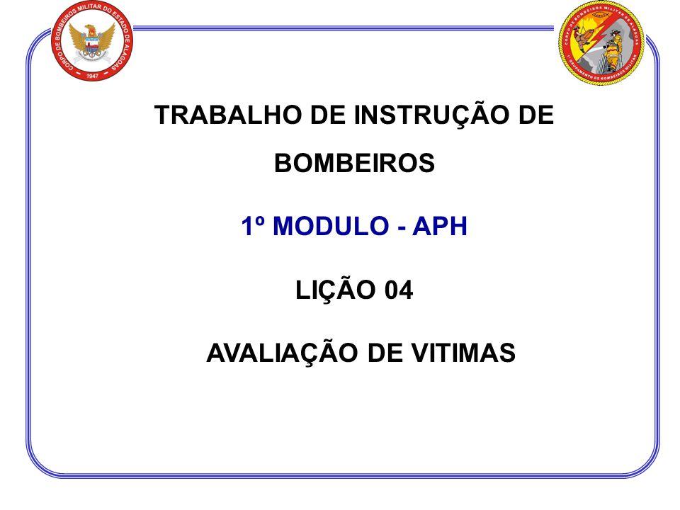 TRABALHO DE INSTRUÇÃO DE BOMBEIROS 1º MODULO - APH LIÇÃO 04 AVALIAÇÃO DE VITIMAS