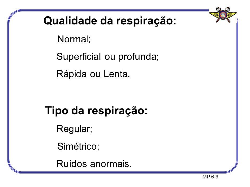 MP 6-9 Qualidade da respiração: Normal; Superficial ou profunda; Rápida ou Lenta. Tipo da respiração: Regular; Simétrico; Ruídos anormais.