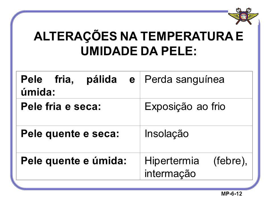 MP-6-12 ALTERAÇÕES NA TEMPERATURA E UMIDADE DA PELE: Pele fria, pálida e úmida: Perda sanguínea Pele fria e seca:Exposição ao frio Pele quente e seca: