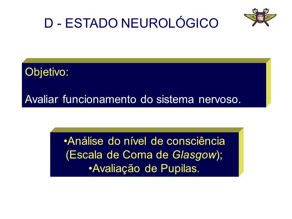 Objetivo: Avaliar funcionamento do sistema nervoso. Análise do nível de consciência (Escala de Coma de Glasgow); Avaliação de Pupilas. D - ESTADO NEUR