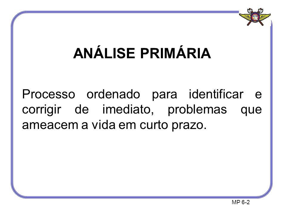 MP 6-2 ANÁLISE PRIMÁRIA Processo ordenado para identificar e corrigir de imediato, problemas que ameacem a vida em curto prazo.