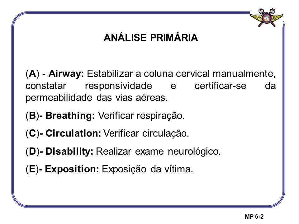 MP 6-2 ANÁLISE PRIMÁRIA (A) - Airway: Estabilizar a coluna cervical manualmente, constatar responsividade e certificar-se da permeabilidade das vias a