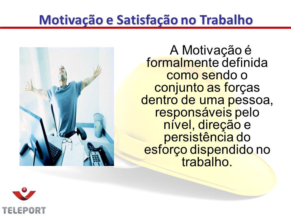 A Motivação é formalmente definida como sendo o conjunto as forças dentro de uma pessoa, responsáveis pelo nível, direção e persistência do esforço dispendido no trabalho.