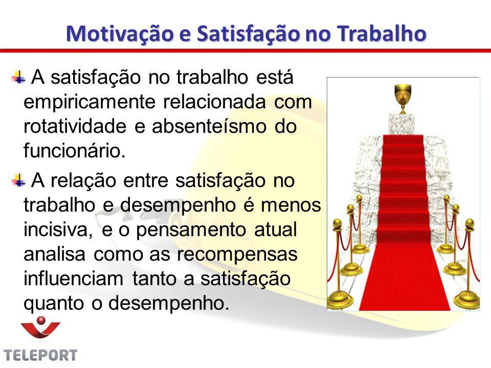 A satisfação no trabalho está empiricamente relacionada com rotatividade e absenteísmo do funcionário.