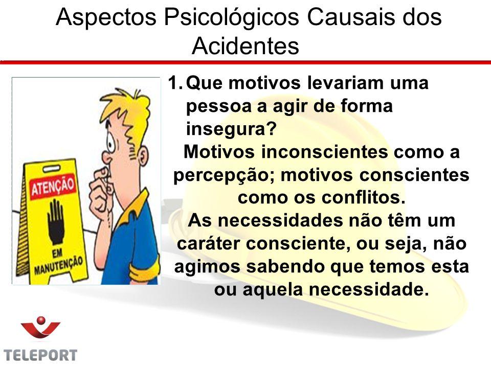 Aspectos Psicológicos Causais dos Acidentes 1.Que motivos levariam uma pessoa a agir de forma insegura.