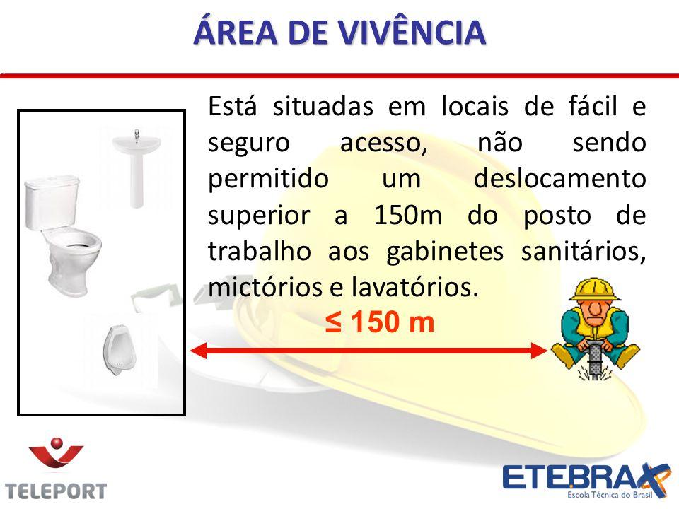 ÁREA DE VIVÊNCIA Está situadas em locais de fácil e seguro acesso, não sendo permitido um deslocamento superior a 150m do posto de trabalho aos gabine