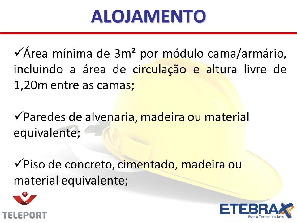 ALOJAMENTO Área mínima de 3m² por módulo cama/armário, incluindo a área de circulação e altura livre de 1,20m entre as camas; Paredes de alvenaria, ma