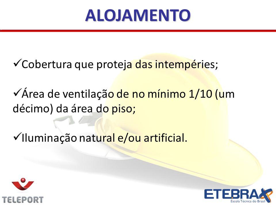Cobertura que proteja das intempéries; Área de ventilação de no mínimo 1/10 (um décimo) da área do piso; Iluminação natural e/ou artificial. ALOJAMENT
