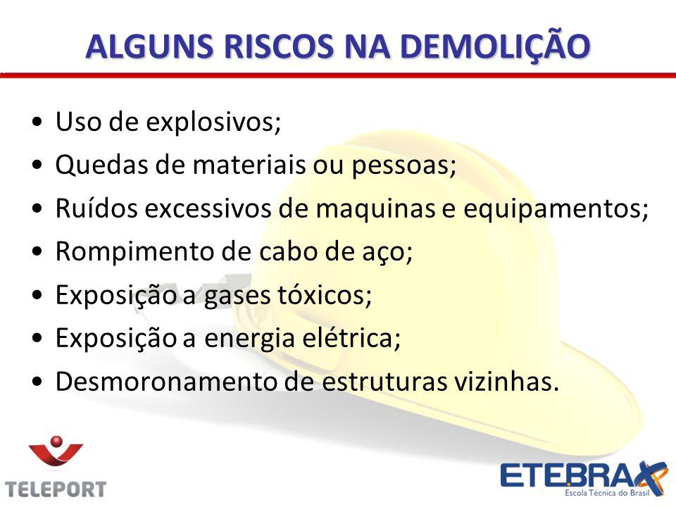 ALGUNS RISCOS NA DEMOLIÇÃO Uso de explosivos; Quedas de materiais ou pessoas; Ruídos excessivos de maquinas e equipamentos; Rompimento de cabo de aço;