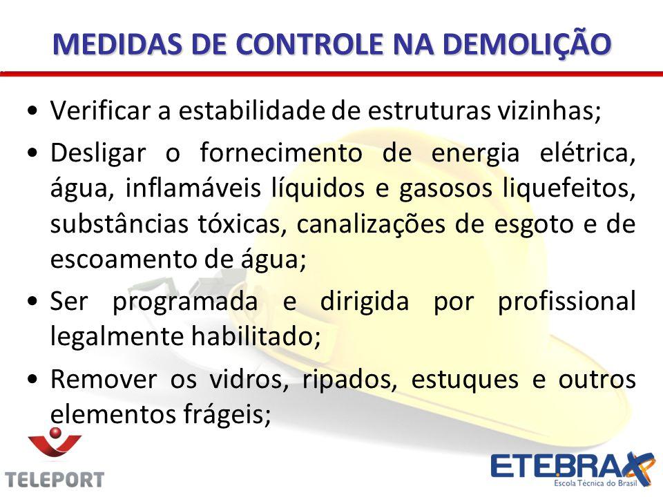 MEDIDAS DE CONTROLE NA DEMOLIÇÃO Verificar a estabilidade de estruturas vizinhas; Desligar o fornecimento de energia elétrica, água, inflamáveis líqui