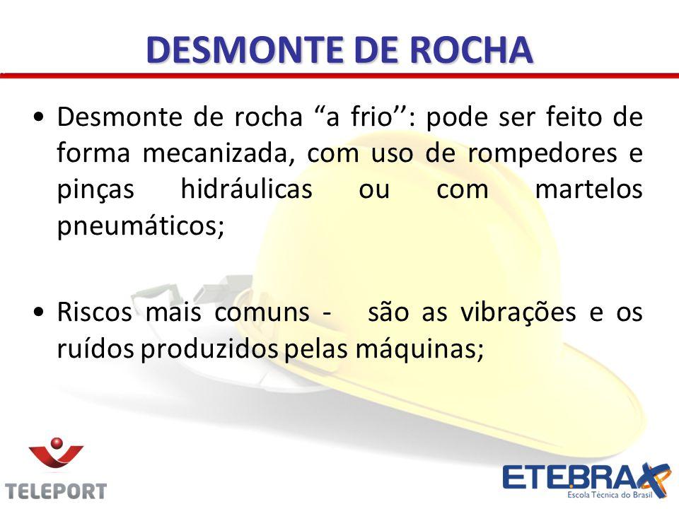 DESMONTE DE ROCHA Desmonte de rocha a frio: pode ser feito de forma mecanizada, com uso de rompedores e pinças hidráulicas ou com martelos pneumáticos
