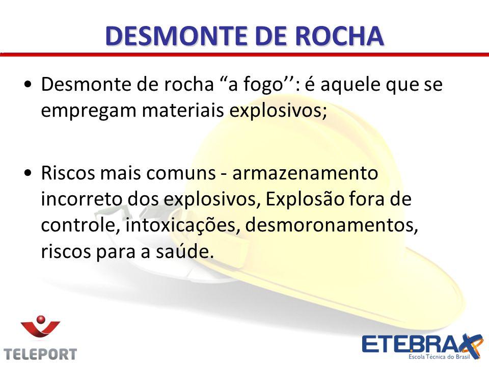 DESMONTE DE ROCHA Desmonte de rocha a fogo: é aquele que se empregam materiais explosivos; Riscos mais comuns - armazenamento incorreto dos explosivos