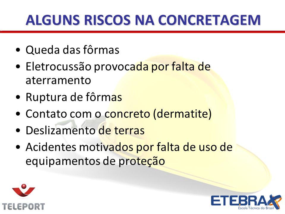 ALGUNS RISCOS NA CONCRETAGEM Queda das fôrmas Eletrocussão provocada por falta de aterramento Ruptura de fôrmas Contato com o concreto (dermatite) Des