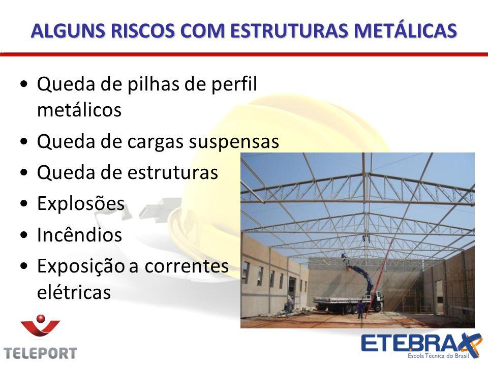 ALGUNS RISCOS COM ESTRUTURAS METÁLICAS Queda de pilhas de perfil metálicos Queda de cargas suspensas Queda de estruturas Explosões Incêndios Exposição