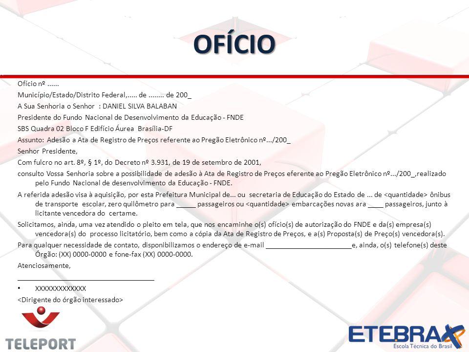 OFÍCIO Ofício nº......Município/Estado/Distrito Federal,.....