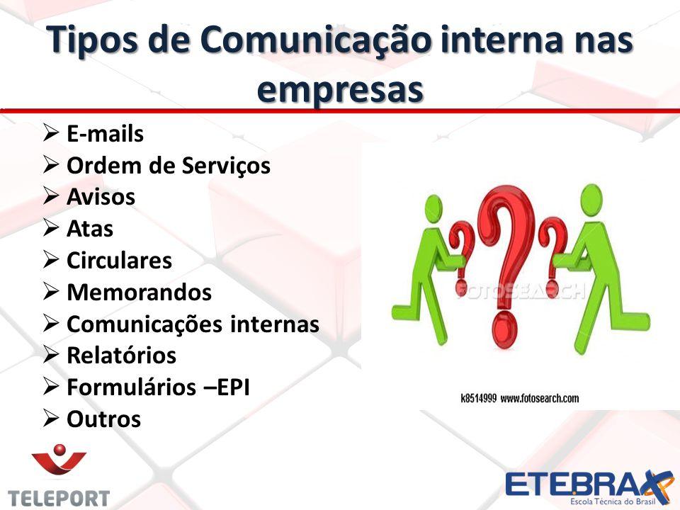 Tipos de Comunicação interna nas empresas E-mails Ordem de Serviços Avisos Atas Circulares Memorandos Comunicações internas Relatórios Formulários –EPI Outros