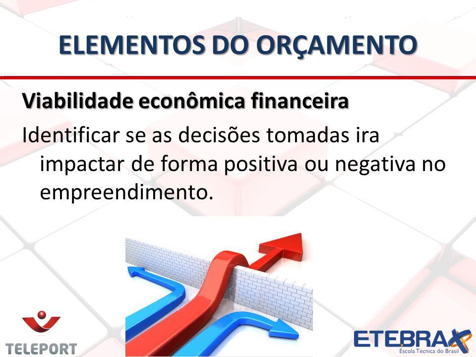 Viabilidade econômica financeira Identificar se as decisões tomadas ira impactar de forma positiva ou negativa no empreendimento. ELEMENTOS DO ORÇAMEN