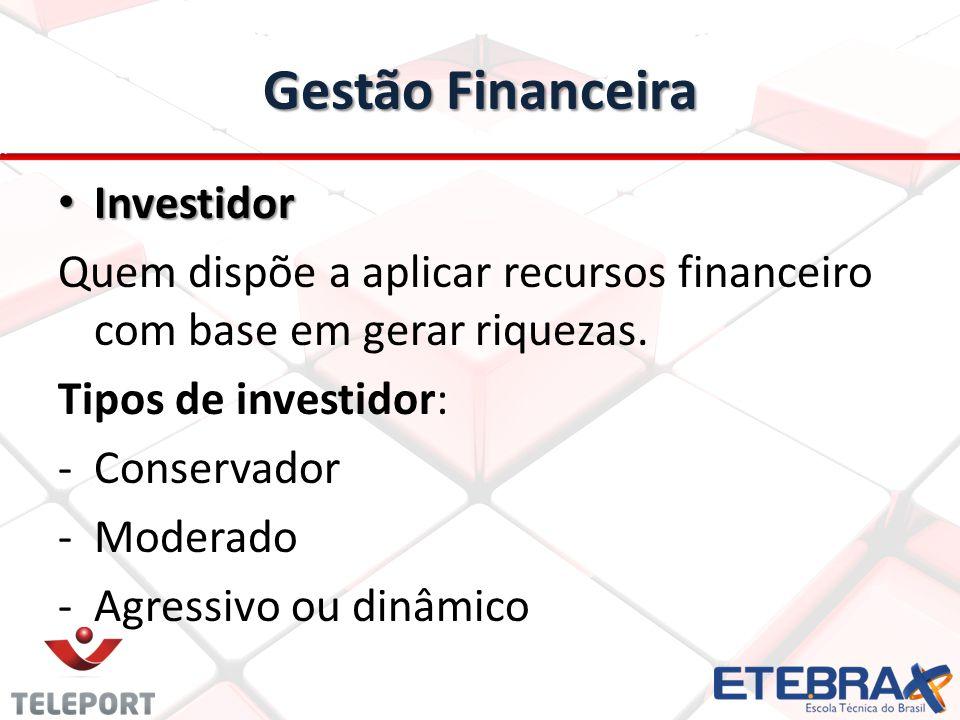 Gestão Financeira Investidor Investidor Quem dispõe a aplicar recursos financeiro com base em gerar riquezas. Tipos de investidor: - Conservador - -Mo
