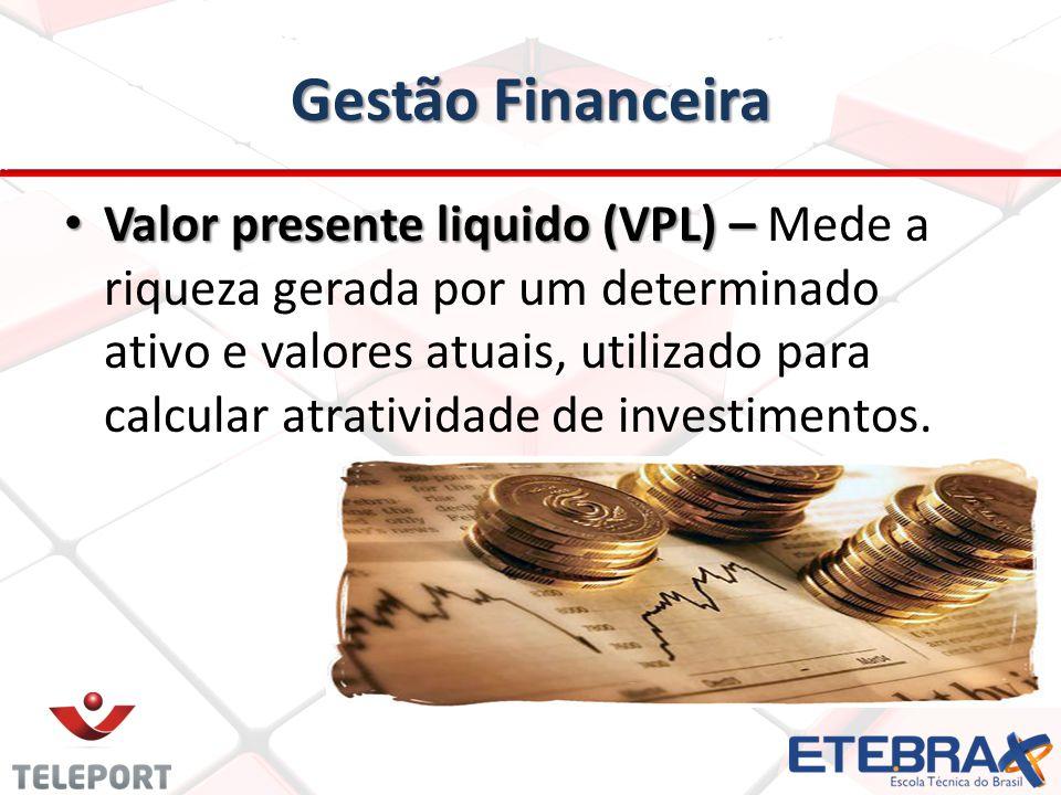 Gestão Financeira Valor presente liquido (VPL) – Valor presente liquido (VPL) – Mede a riqueza gerada por um determinado ativo e valores atuais, utili