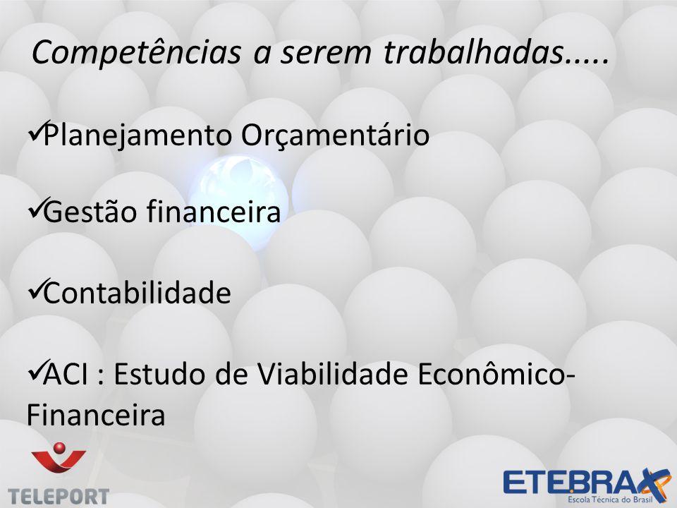 Planejamento Orçamentário Gestão financeira Contabilidade ACI : Estudo de Viabilidade Econômico- Financeira Competências a serem trabalhadas.....