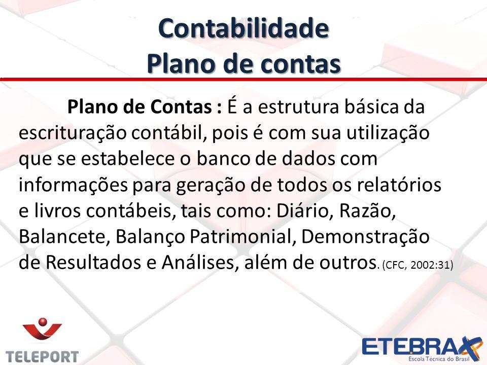 Contabilidade Plano de contas Plano de Contas : É a estrutura básica da escrituração contábil, pois é com sua utilização que se estabelece o banco de