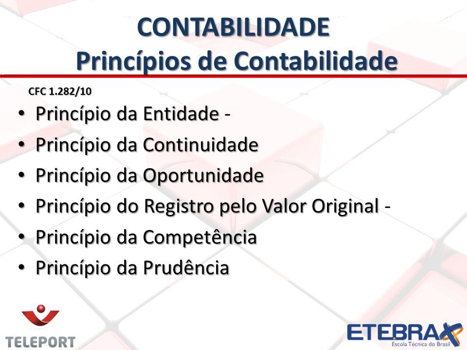 CONTABILIDADE Princípios de Contabilidade CFC 1.282/10 Princípio da Entidade Princípio da Entidade - Princípio da Continuidade Princípio da Continuida