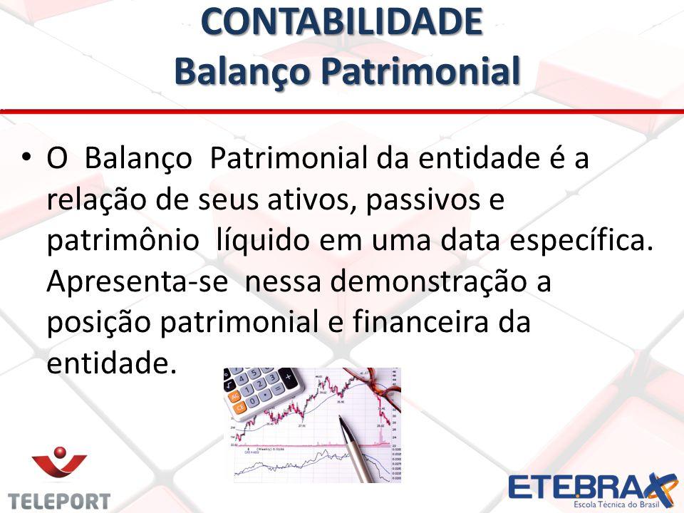 CONTABILIDADE Balanço Patrimonial O Balanço Patrimonial da entidade é a relação de seus ativos, passivos e patrimônio líquido em uma data específica.