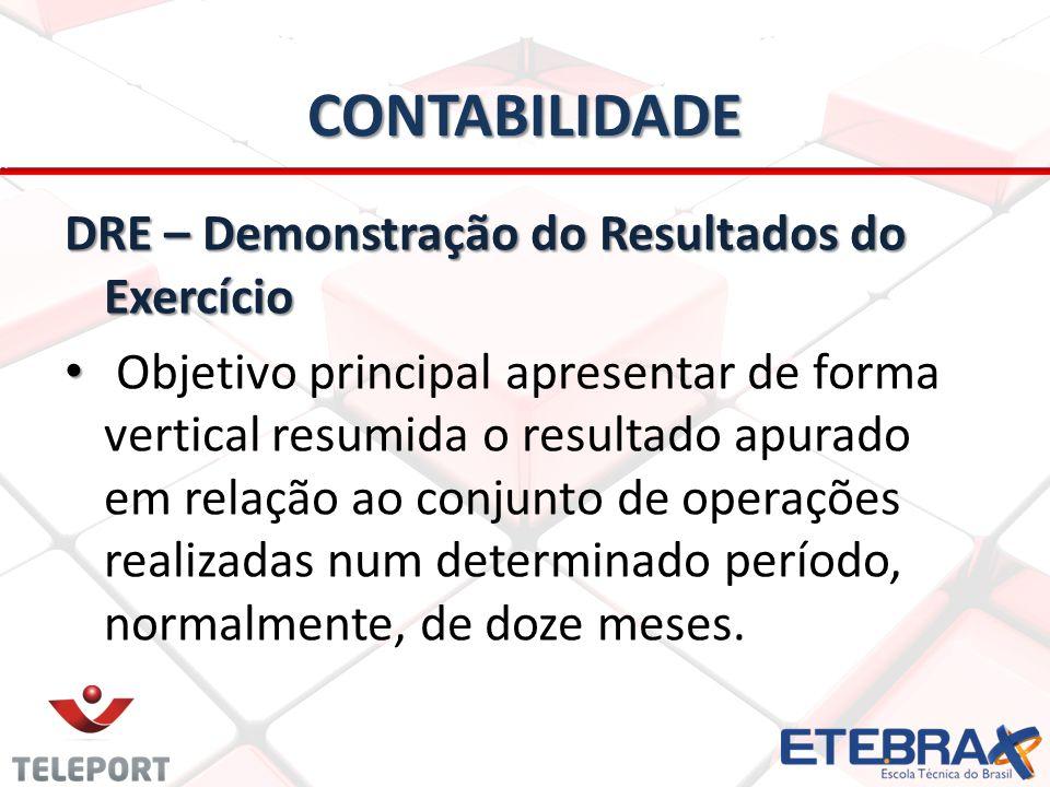 CONTABILIDADE DRE – Demonstração do Resultados do Exercício Objetivo principal apresentar de forma vertical resumida o resultado apurado em relação ao