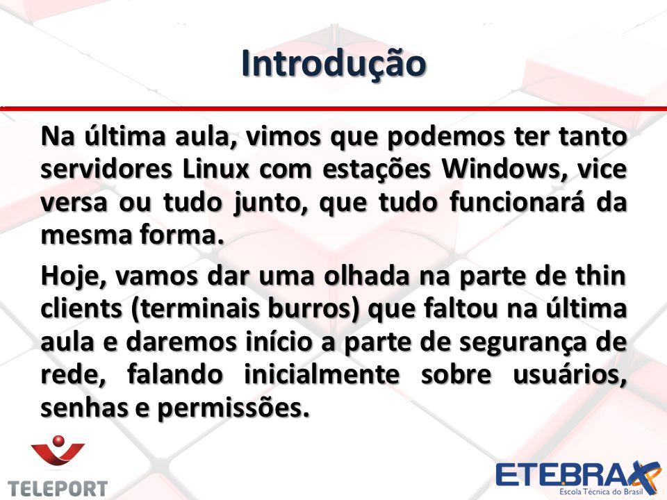 Introdução Na última aula, vimos que podemos ter tanto servidores Linux com estações Windows, vice versa ou tudo junto, que tudo funcionará da mesma f