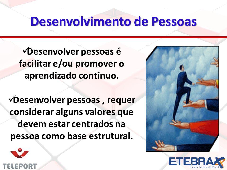 Desenvolvimento de Pessoas Desenvolver pessoas é facilitar e/ou promover o aprendizado contínuo.