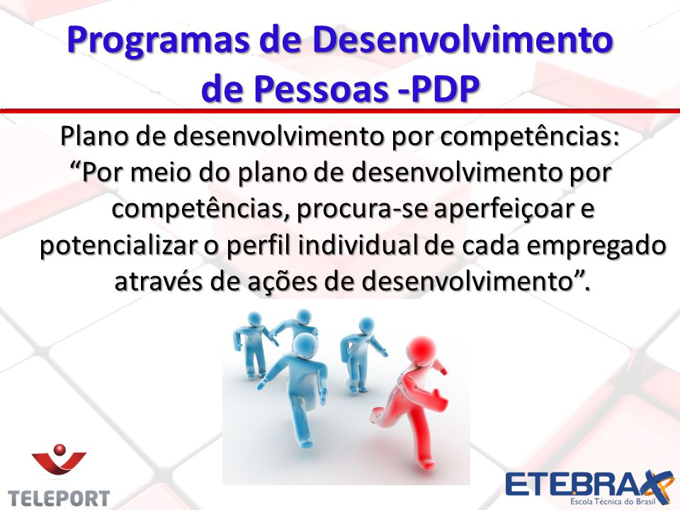 Plano de desenvolvimento por competências: Por meio do plano de desenvolvimento por competências, procura-se aperfeiçoar e potencializar o perfil individual de cada empregado através de ações de desenvolvimento.