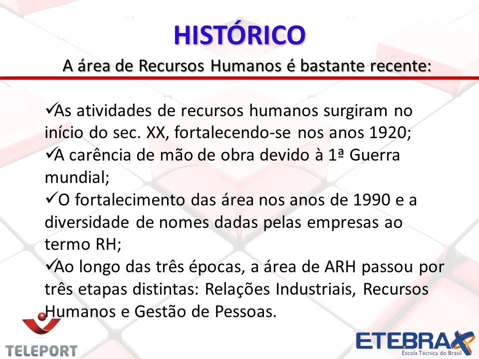 HISTÓRICO A área de Recursos Humanos é bastante recente: As atividades de recursos humanos surgiram no início do sec.