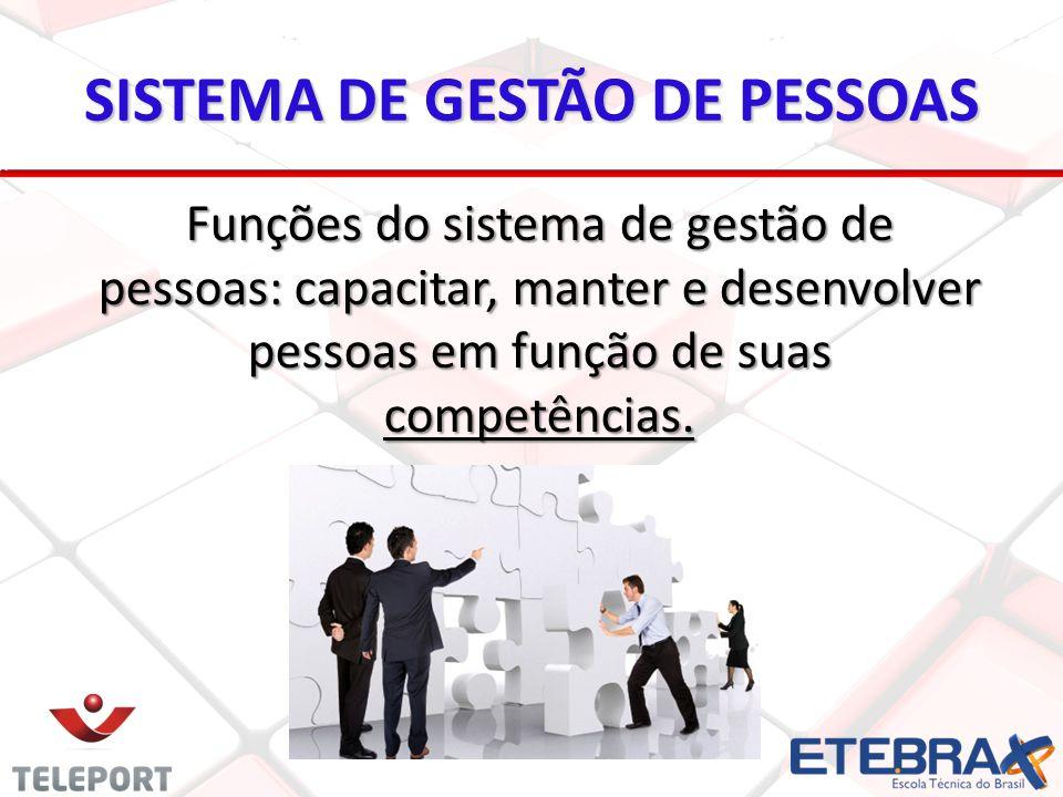 Funções do sistema de gestão de pessoas: capacitar, manter e desenvolver pessoas em função de suas competências.