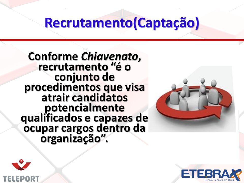 Recrutamento(Captação) Conforme Chiavenato, recrutamento é o conjunto de procedimentos que visa atrair candidatos potencialmente qualificados e capazes de ocupar cargos dentro da organização.