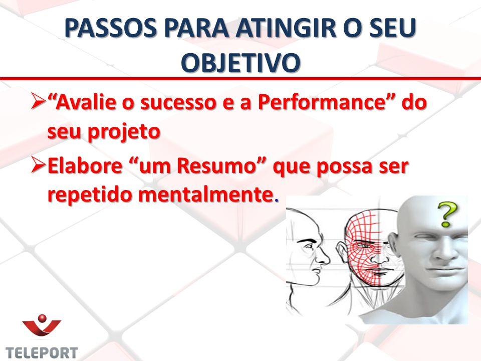 PASSOS PARA ATINGIR O SEU OBJETIVO Avalie o sucesso e a Performance do seu projeto Avalie o sucesso e a Performance do seu projeto Elabore um Resumo q