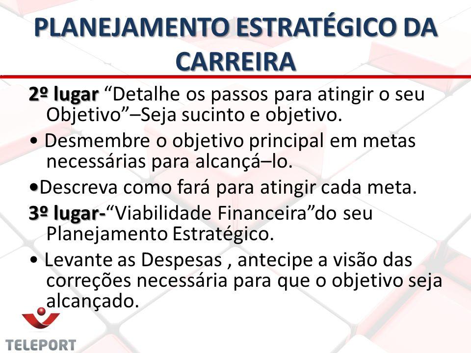 PLANEJAMENTO ESTRATÉGICO DA CARREIRA 2º lugar 2º lugar Detalhe os passos para atingir o seu Objetivo–Seja sucinto e objetivo. Desmembre o objetivo pri