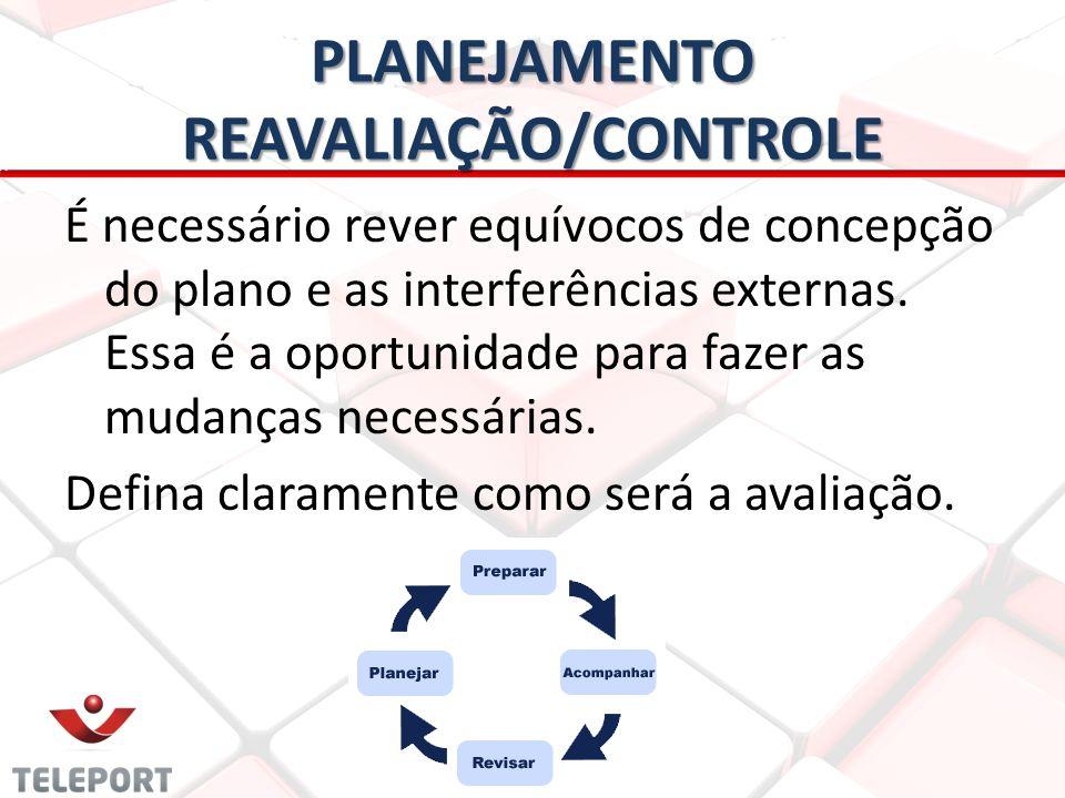 PLANEJAMENTO REAVALIAÇÃO/CONTROLE É necessário rever equívocos de concepção do plano e as interferências externas. Essa é a oportunidade para fazer as