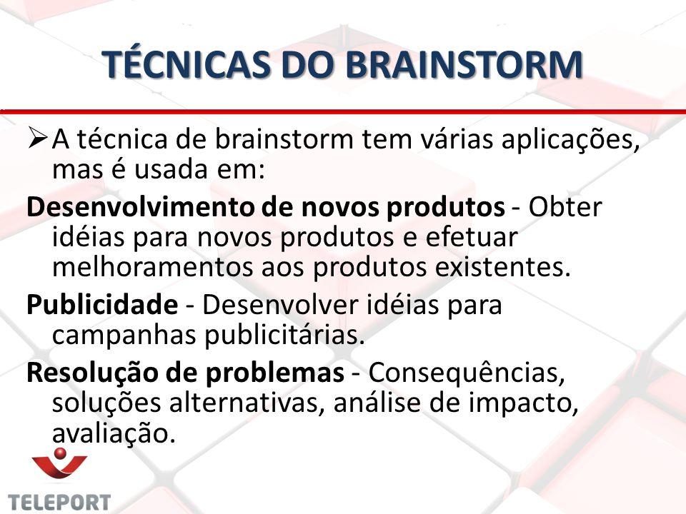 TÉCNICAS DO BRAINSTORM A técnica de brainstorm tem várias aplicações, mas é usada em: Desenvolvimento de novos produtos - Obter idéias para novos produtos e efetuar melhoramentos aos produtos existentes.