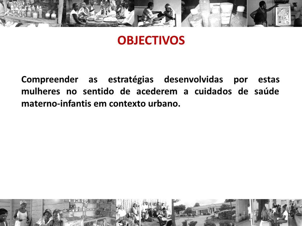 OBJECTIVOS Compreender as estratégias desenvolvidas por estas mulheres no sentido de acederem a cuidados de saúde materno-infantis em contexto urbano.