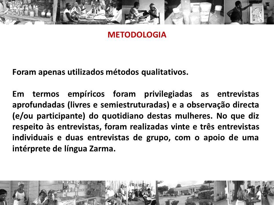 METODOLOGIA Foram apenas utilizados métodos qualitativos. Em termos empíricos foram privilegiadas as entrevistas aprofundadas (livres e semiestruturad